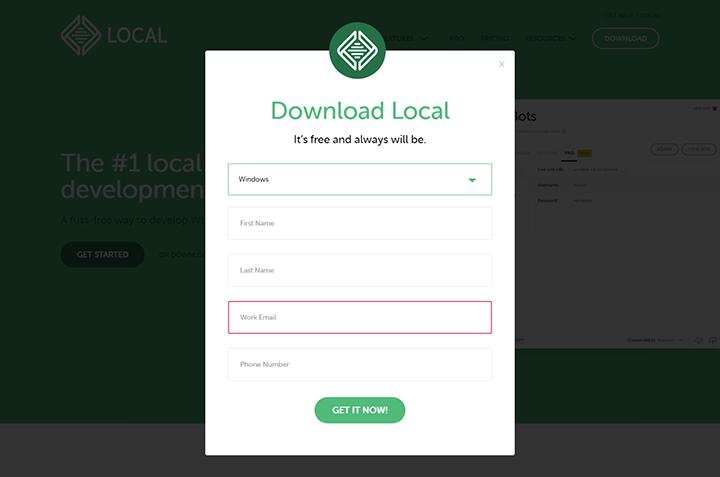 Localのダウンロード:メールアドレス入力